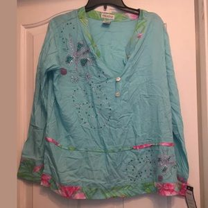 NWT $54.95 paradise blue long sleeve top